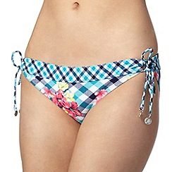 Mantaray - Aqua floral checked bikini bottoms