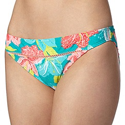 Mantaray - Turquoise floral print textured bikini bottoms