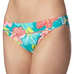 Mantaray - Turquoise floral print textured bikini bottoms