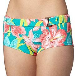 Mantaray - Turquoise floral print textured belted bikini shorts