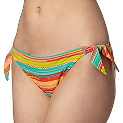 Mantaray - Lime triple striped tie side bikini bottoms