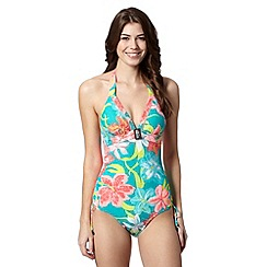 Mantaray - Turquoise floral print textured swimsuit