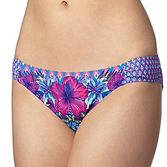 Mantaray - Turquoise geometric and tropical floral bikini bottoms