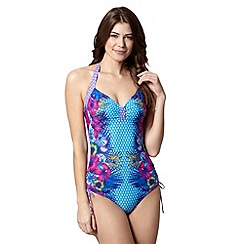 Mantaray - Turquoise geometric and tropical floral swimsuit