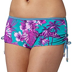 Mantaray - Turquoise hawaiian floral short bikini bottoms