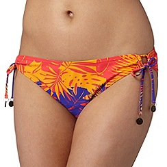 Mantaray - Red leaf print ruched bikini bottoms