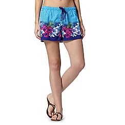 Mantaray - Turquoise geometric and tropical floral board shorts