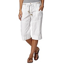 Mantaray - White linen blend cropped trousers