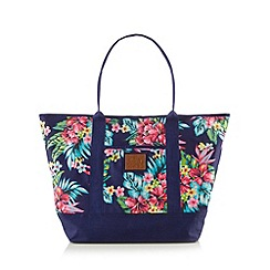 Mantaray - Navy large floral canvas tote bag