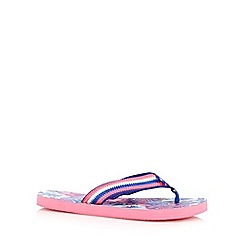 Mantaray - Pink 'Honolulu' floral flip flops