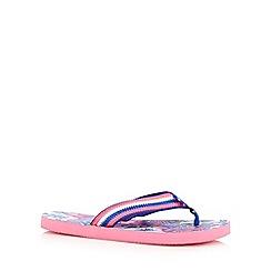 Mantaray - Pink 'Honolulu' floral flip flops