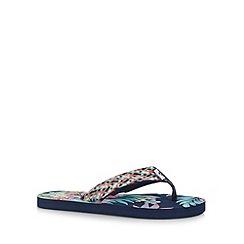 Mantaray - Navy floral woven flip flops