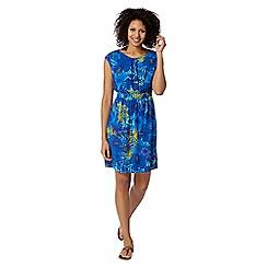 Mantaray - Blue tropical print elasticated dress
