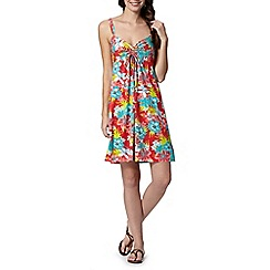 Mantaray - Turquoise floral print ruched front beach dress