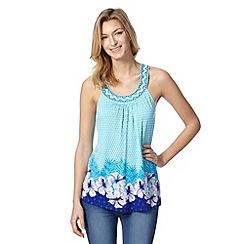 Mantaray - Turquoise beaded floral hem vest