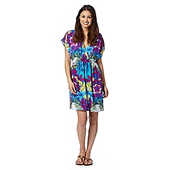 Mantaray - Blue tropical print kaftan dress