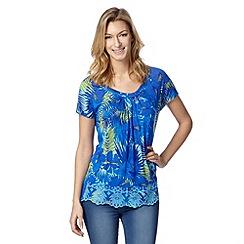Mantaray - Blue embroidered hem floral top