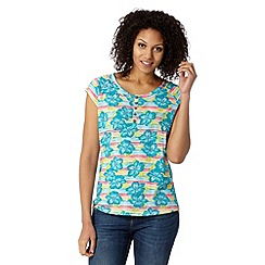 Mantaray - Blue button floral t-shirt