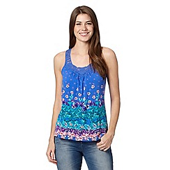 Mantaray - Blue palm floral print lace neck vest