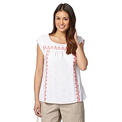Mantaray - White woven embroidered top