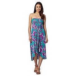 Mantaray - Turquoise floral dropped hem bandeau dress