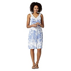 Mantaray - Blue crochet V neck dress