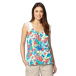 Mantaray - White floral crochet strap top