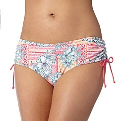 Mantaray - White tribal floral ruched bikini bottoms