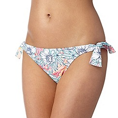 Mantaray - White tribal floral self tie bikini bottoms