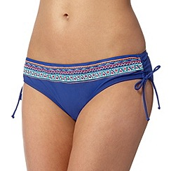 Mantaray - Blue embroidered aztec bikini bottoms