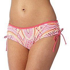 Mantaray - Bright pink tribal ruched bikini bottoms