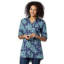 Mantaray - Navy floral longline shirt