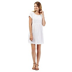 Mantaray - White woven embroidered dress