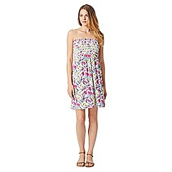 Mantaray - White floral shirred beach dress