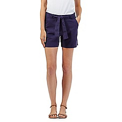 Mantaray - Navy textured belted shorts