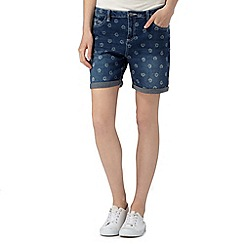 Mantaray - Dark blue denim floral shorts