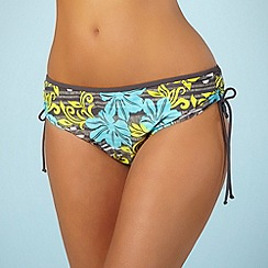 Mantaray - Grey hibiscus print ruched bikini bottoms