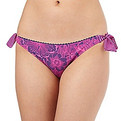 Mantaray - Purple striped floral bikini bottoms