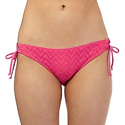 Mantaray - Pink crochet side tie bikini bottoms