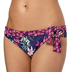 Mantaray - Navy botanical side tie bikini bottoms