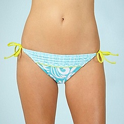 Mantaray - Aqua swirl tie side bikini bottoms