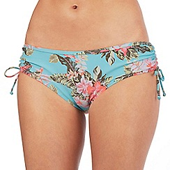 Mantaray - Aqua floral print ruched bikini bottoms