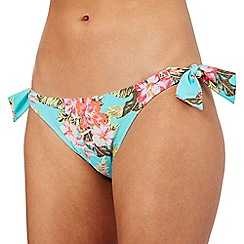 Mantaray - Aqua floral print bikini bottoms