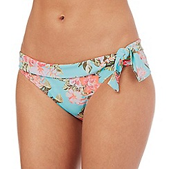 Mantaray - Aqua floral print side tie bikini bottoms