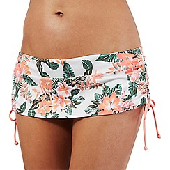 Mantaray - Orange tropical print skirt bikini bottoms