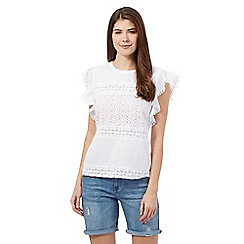 Mantaray - White broderie top