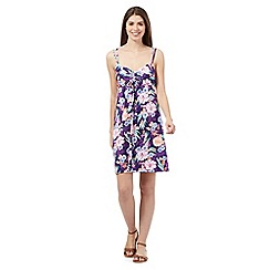 Mantaray - Purple floral print tie front dress