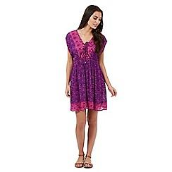 Mantaray - Purple floral lace up dress