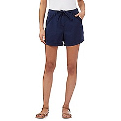 Mantaray - Navy embroidered detail shorts
