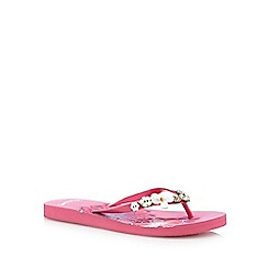 Mantaray - Bright pink applique flip flops